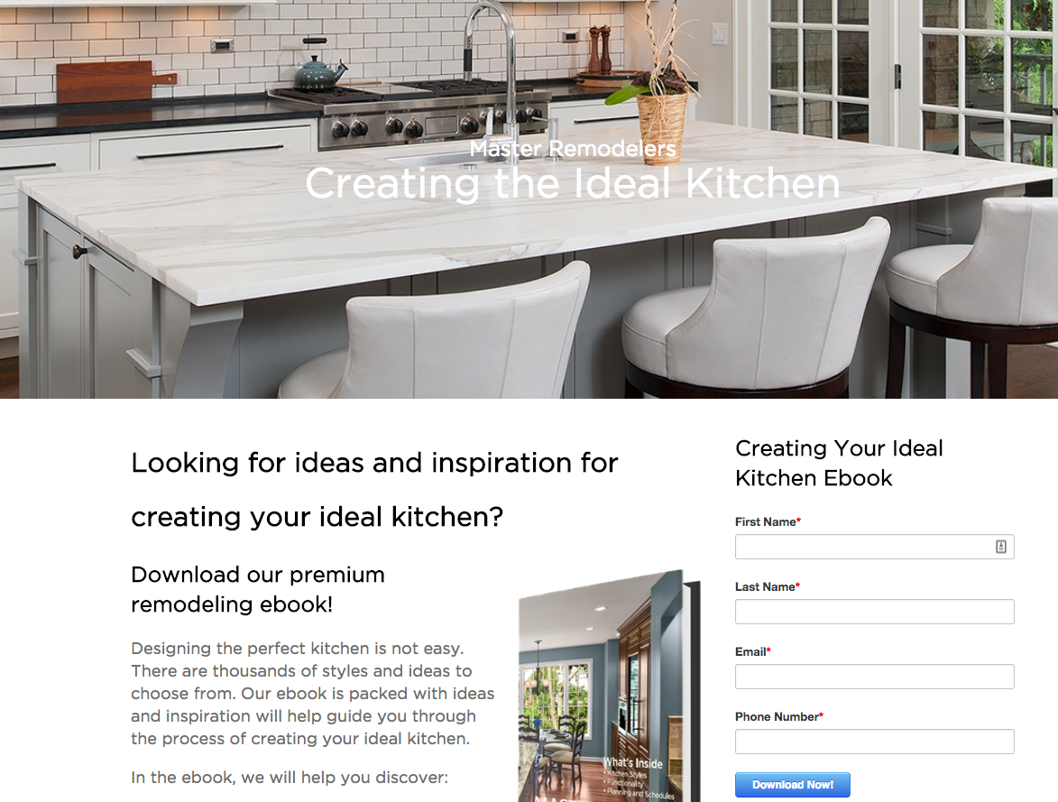 Kitchen eBook Landing Page