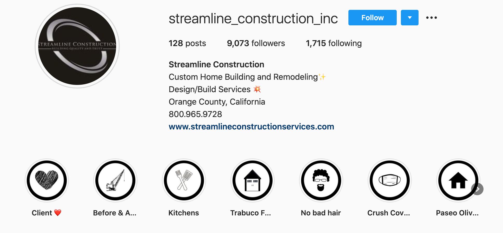 streamline-construction-inc-instagram-profile