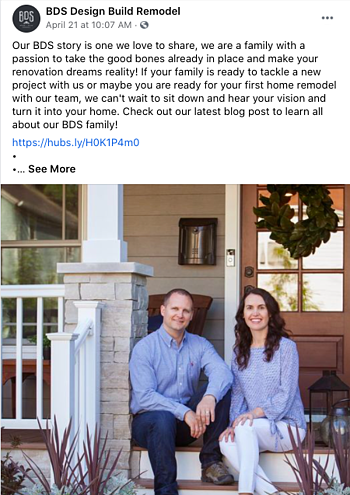 Facebook Post Idea for Remodelers, Contractors, and Home Builders - Company's Story