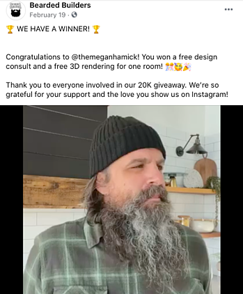Facebook Post Idea for Remodelers, Contractors, and Home Builders - Giveaways