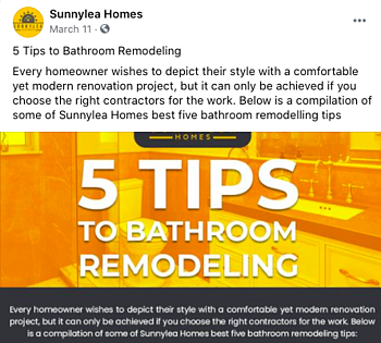 Facebook Post Idea for Remodelers, Contractors, and Home Builders - Insider Information