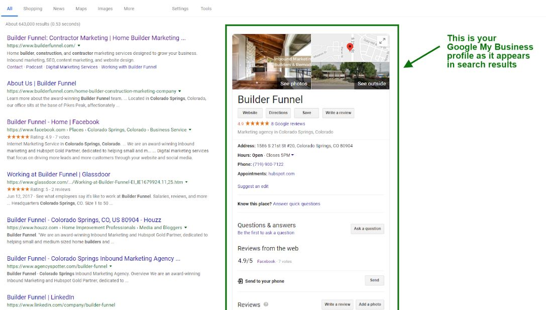 Builder Funnel GMB example