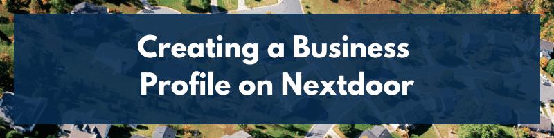 Creating a Business Profile on Nextdoor